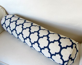 DASH ADMIRAL navy/off white Daybed size 8x30  bolster pillow includes insert