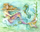 "Mermaid art..""Naida"" and her seahorse friend play on a typical day in the life of a mermaid...11x14 print"