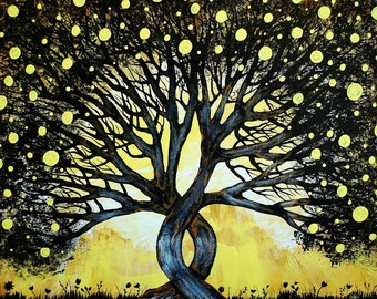 Fine Art Giclee Print of Original Painting The Lemon Tree Amber Elizabeth Lamoreaux Yellow Black Silhouette Tree Lemons Grass Art