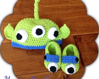 Toy Story inspired Alien Beanie and Booties Set - Newborn through 12 Month Sizes