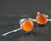 juicy orange carnelian and sterling silver earrings - READY to SHIP - natural gemstone earrings