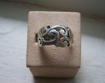 Sterling Wide Band Open Work Swirls Ring Size 8