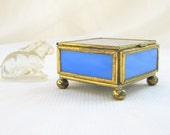 vintage jewel box.glass.brass.treasures.ring.cornflower blue.etched.mirrored.from tessiemay