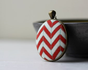 Red Chevron Necklace, Red and White,  Geometric, Modern Jewelry