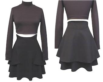 Sculpted Skirt with Lined Peplum