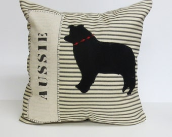 Felt Australian Shepherd Dog Pillow - Decorative Felt Aussie Silhouette Pillow, Australian Aussie Dog Pillow, Home Decor, Dog Gift