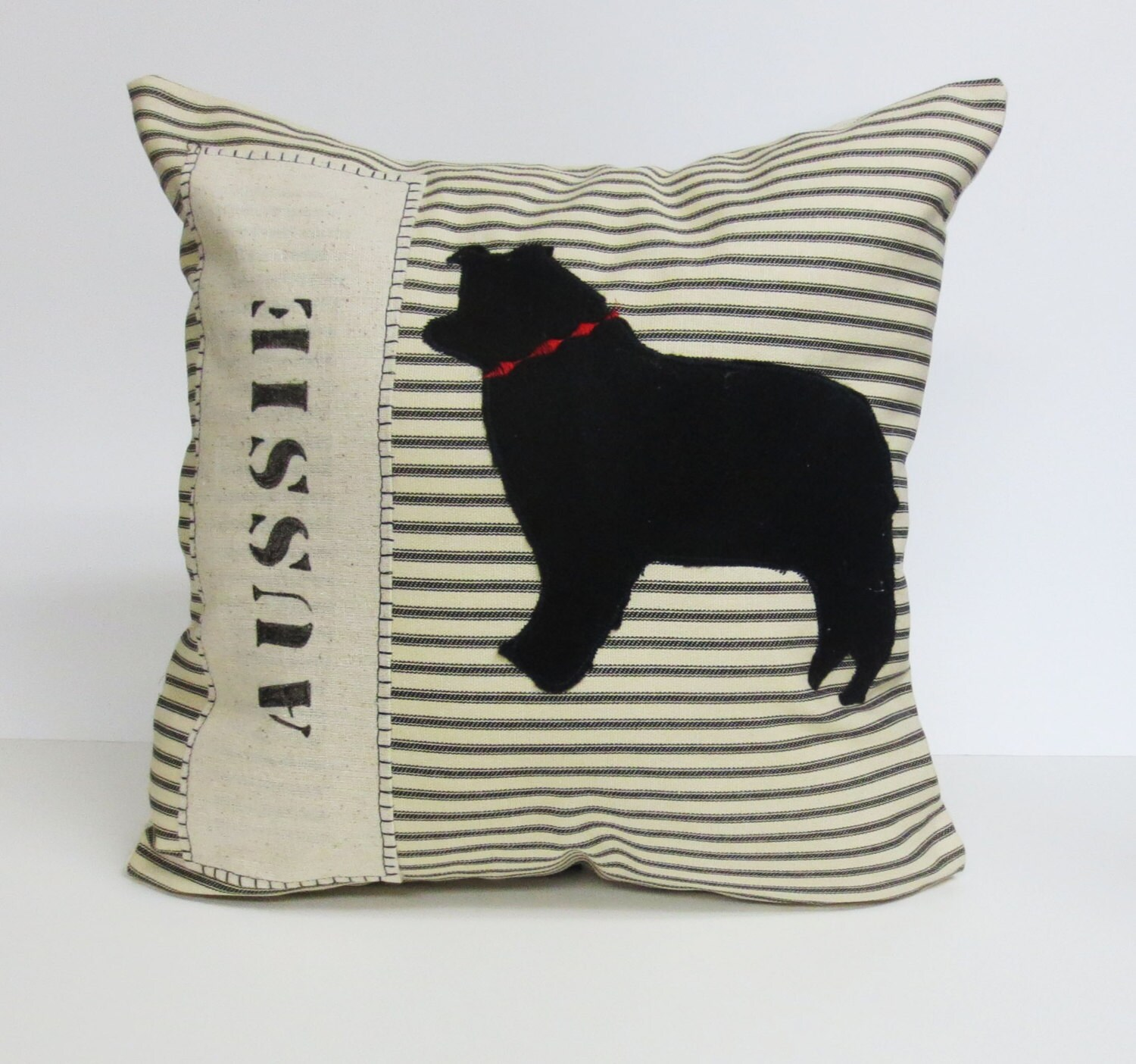 Decorative Pillow With Dog : Felt Australian Shepherd Dog Pillow Decorative Accent