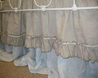 Shabby Ruffled Crib Skirt in Washed Lightweight Oatmeal Linen-Velvet Ribbon Detail-Storybook Crib Skirt with Torn Edge Ruffle