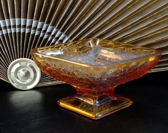 Vintage Amber Carnival Glass Candy Dish Diamond Shape Pedestal Flowers Design
