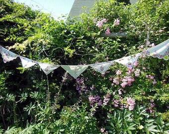 Handmade Custom Vintage Floral Handkerchiefs Bunting/Banner for Weddings,Afternoon Teas,Baby Showers