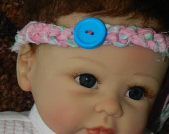 Garden Halo Headband with Blue Button