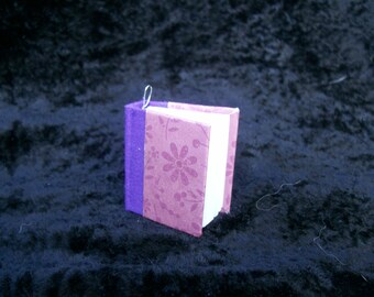Hand-bound Book Necklace - Little Purple Flowers