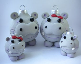 Hippo Family Christmas Ornaments / Set of FOUR