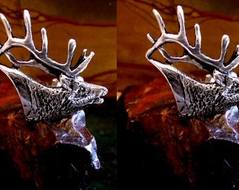 Stag Cufflinks in solid sterling silver Free Shipping