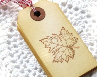 Maple Leaf Handstamped Tags 6pcs