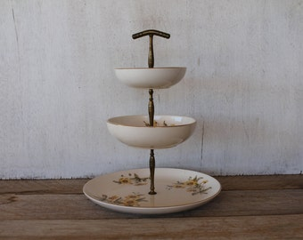 Vintage Three Tiered Serving Stand, Brass & China