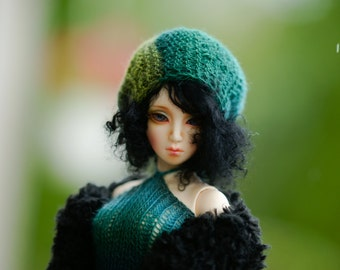 Set OOAK Turquoise Dress Fur Jacket  for SD Dollfie Ooak Abstract sd10 sd13 ball jointed doll dress Bjd dress Bjd knitting