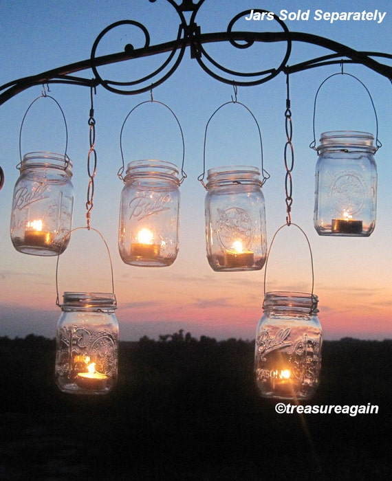 Items similar to diy wedding mason jars lanterns hangers 6 for Hanging candles diy