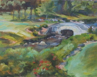 Park Painting, Landscape Painting, park bridge, Park Garden, Garden in a park, Trees, Flowers in Landscape, original oil by Carol DeMumbrum