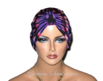 Purple Chemo Turban, Fuchsia Chemo Turban, Abstract Chemo Turban, Fashionable Chemo Turban, Chemo Turbin, Cancer, Women's Handmade Fashion