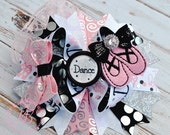 Dance Hair Bow: I Hope You Dance, Pink, Black, Lace, Ballet Birthday, Boutique Hair Barrette, Girl School Bow
