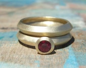 Gold Wedding Band Set -  Gold and Ruby Wedding Set - Ruby Engagement Ring & Wedding Band Set - Ruby Engagement Ring Set
