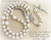 Traditional Irish Baby Boy Baptism Rosary with White Gemstone Beads, Silver and Guardian Angel