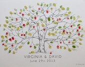 Fingerprint Tree Wedding Guest Book Alternative, Original Hand-drawn Medium Apple Tree Design (ink pads sold separately)