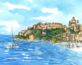 Imperia Italy art print from an original watercolor painting
