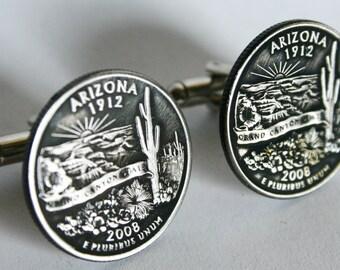 2008 Arizona State Quarter Cufflinks cuff links jewelry by Custom Coin Rings Handmade