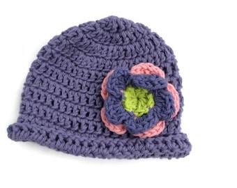 "Crocheted cotton rolled brim beanie ""kidlid"" in purple featuring a two-layer flower"