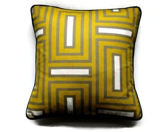 Geometric, mustard yellow, gray, cotton cushion cover, throw pillow cover. homeware decor, oblong, lumbar pillow cover 14 x 18 inches.