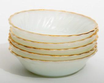 Anchor Hocking Golden Anniversary 22K Trimmed Anchorwhite Swirl Bowls