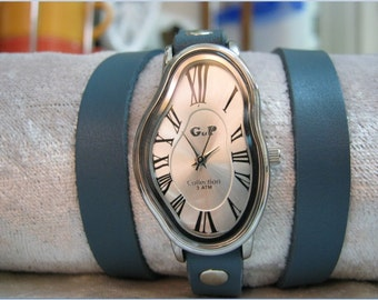 Silver Wrap Watch Fluid Watch Genuine Ocean Blue Dark Turquoise Leather Wrap Watch Bracelet Antique Vintage Retro