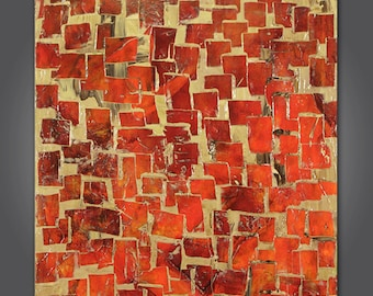 Mosaic No.2  Original painting, abstract art, orange, tan, creme,  24 x 36, medium size art, paul harrington