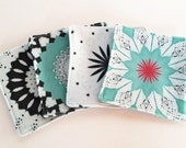Felt Novelty Coasters Set of 4, Organic Cotton, Eco Felt Absorbent, City Modern Abstract, White, Ice Aqua Blue, Dark Green, Red