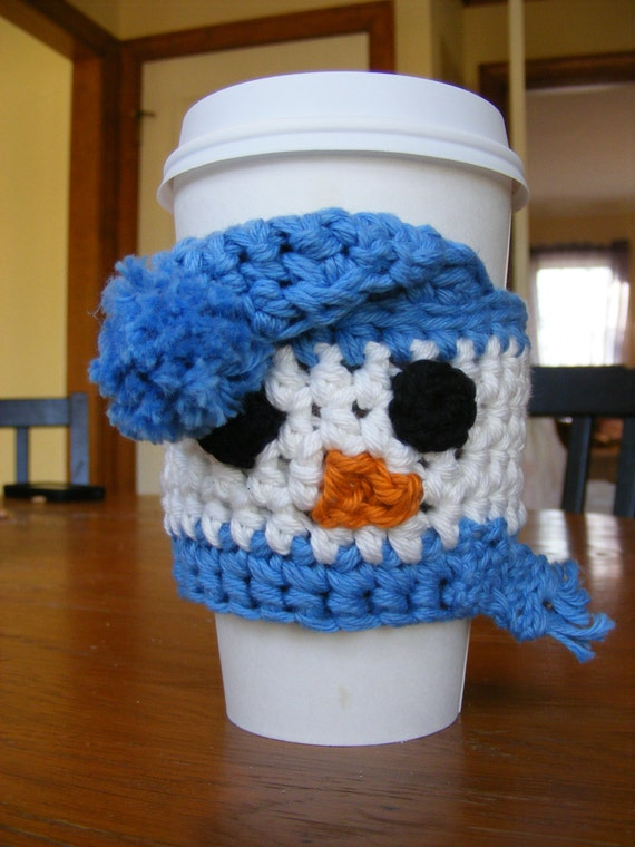 Snowman Coffee Cup Sleeve - handleless for disposable cup