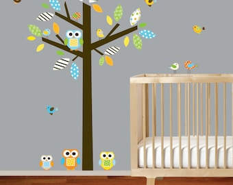 Boy Modern Nursery Vinyl Wall Decal Tree with Owls Birds Pattern Leaves