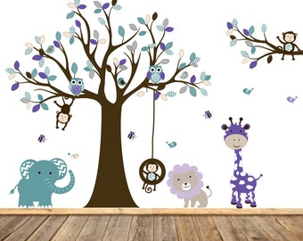 Chevron Nursery Tree Decal Vinyl Wall Decal Stickers Owl Tree Purple Teal Grey Nursery