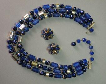 Vintage Cobalt Lucite Necklace & Earing Set