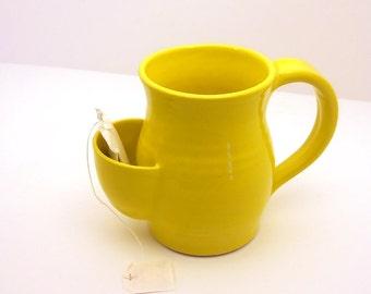 Tea Drinkers Sidekick Mug, Yellow Cup, Tea Bag Pouch - Made to Order