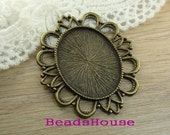 2pcs - (30 x 40mm)  High Quality Antique Bronze Pendant Base,SE-3040-02