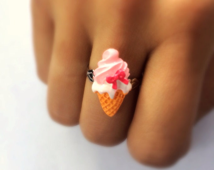 Ice cream cone with strawberry topping and pink bow adjustable ring, miniature food, kawaii, geekery