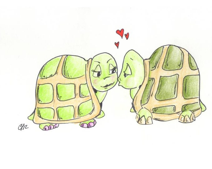 Turtle Love Happy Anniversary Drawing Card Comes with envelope and seal, made on recycled paper