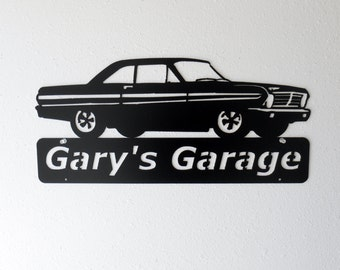 Personalized Man Cave Classic 1965 Ford Falcon Garage Sign Satin Black