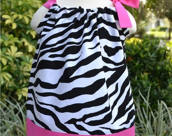 Hot Pink Zebra Pillowcase Dress, girls Valentine's Dress, party dress, hot pink and black dress, toddler dress