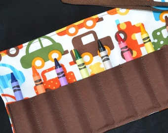 Cars Crayon Roll - Boys Cars Birthday Party Favor, cars and trucks, boys STOCKING STUFFER, toddler boys gift, truck party