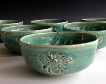 Set of Six dessert bee bowls stoneware