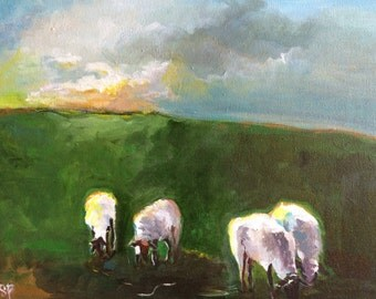Grazing Sheep- original acrylic painting 16x20 by Shannon Peters