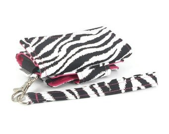 Cell Phone Wallet, Wristlet for iPhone/Galaxy - The Errand Runner - Zebra/Hot Pink
